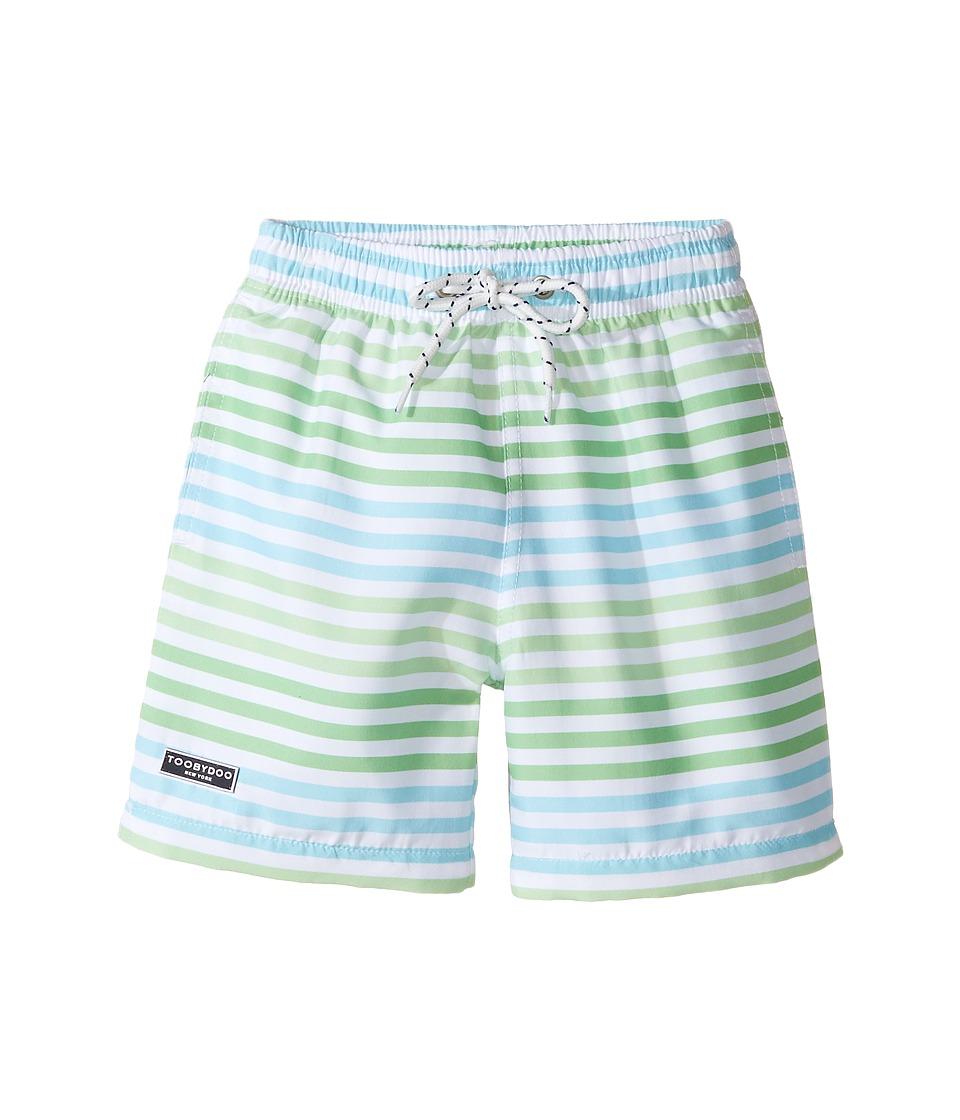 Toobydoo - Swim Shorts Multi Green Stripe (Infant/Toddler/Little Kids/Big Kids) (Green/Blue/White) Boy's Swimwear