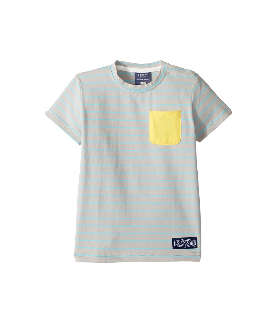 Toobydoo - Aqua Stripe Pocket T-Shirt (Infant/Toddler/Little Kids/Big Kids) (Aqua/Grey/Yellow) Boy's T Shirt