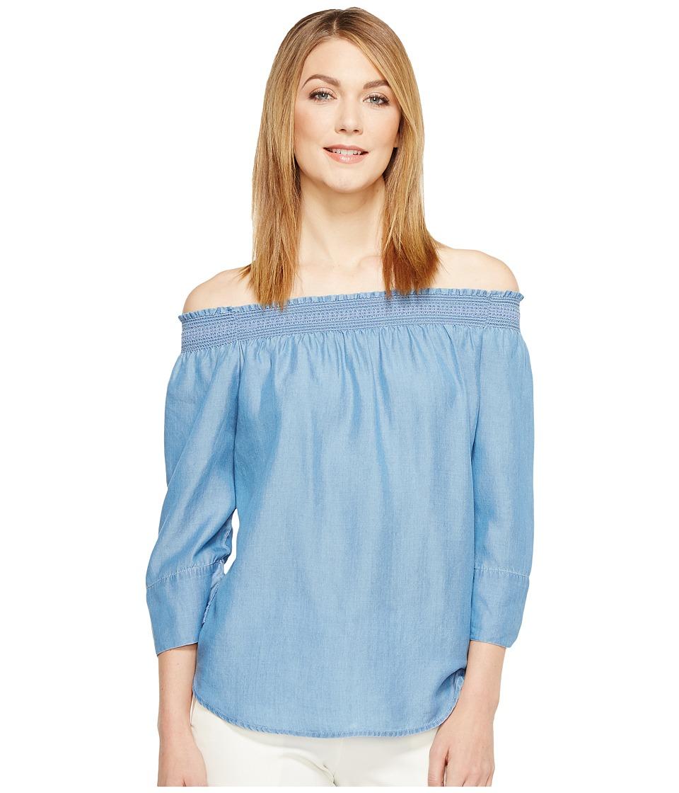 NIC+ZOE - Summer Scene Top (Blue Haze Denim) Women's Clothing