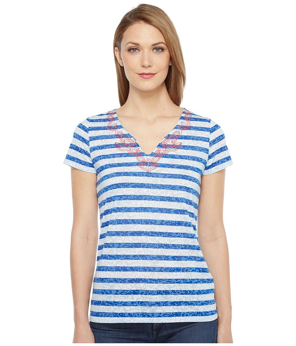 Tribal - Striped Knit Burnout Short Sleeve Embroidered Neckline Top (Diva Blue) Women's T Shirt