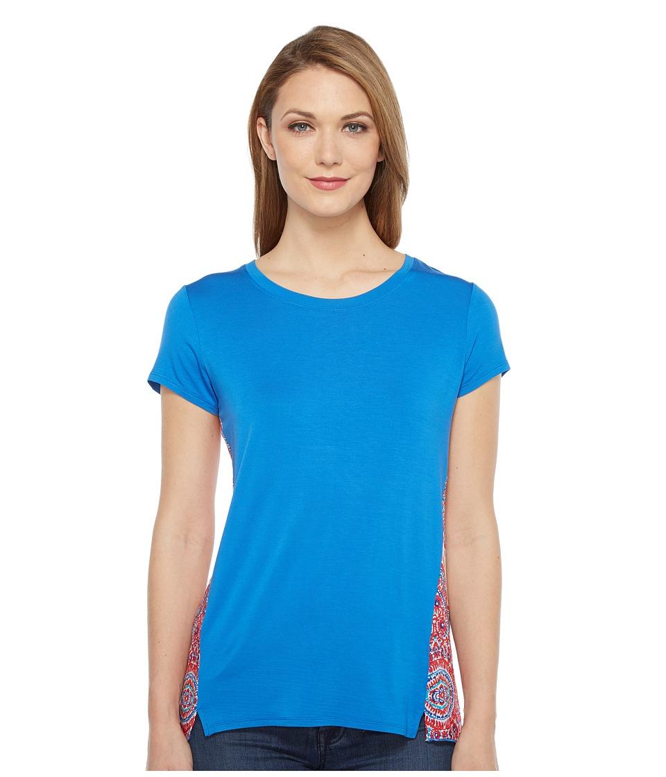 Tribal - Jersey Short Sleeve Top w/ Back Print (Diva Blue) Women's T Shirt