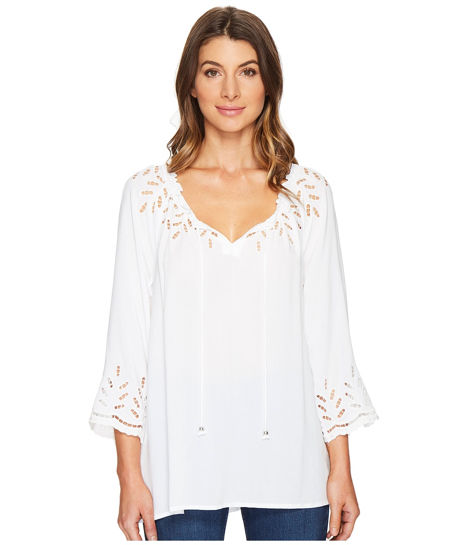Tribal - On or Off the Shoulder Blouse w/ Eyelet Detail (White) Women's Blouse
