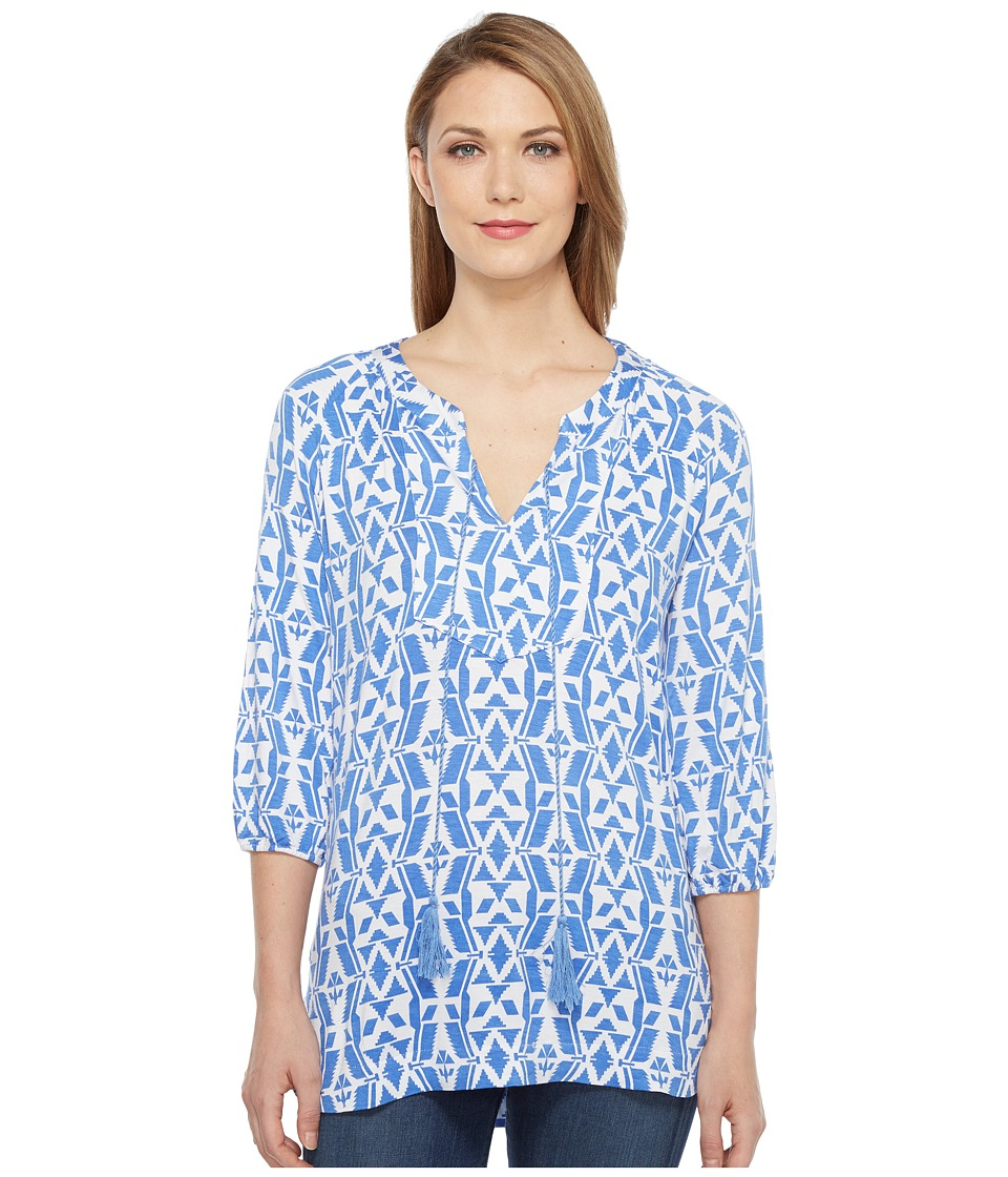 Tribal - Printed Rayon Long Sleeve Tunic Top (Peri Dust) Women's Blouse