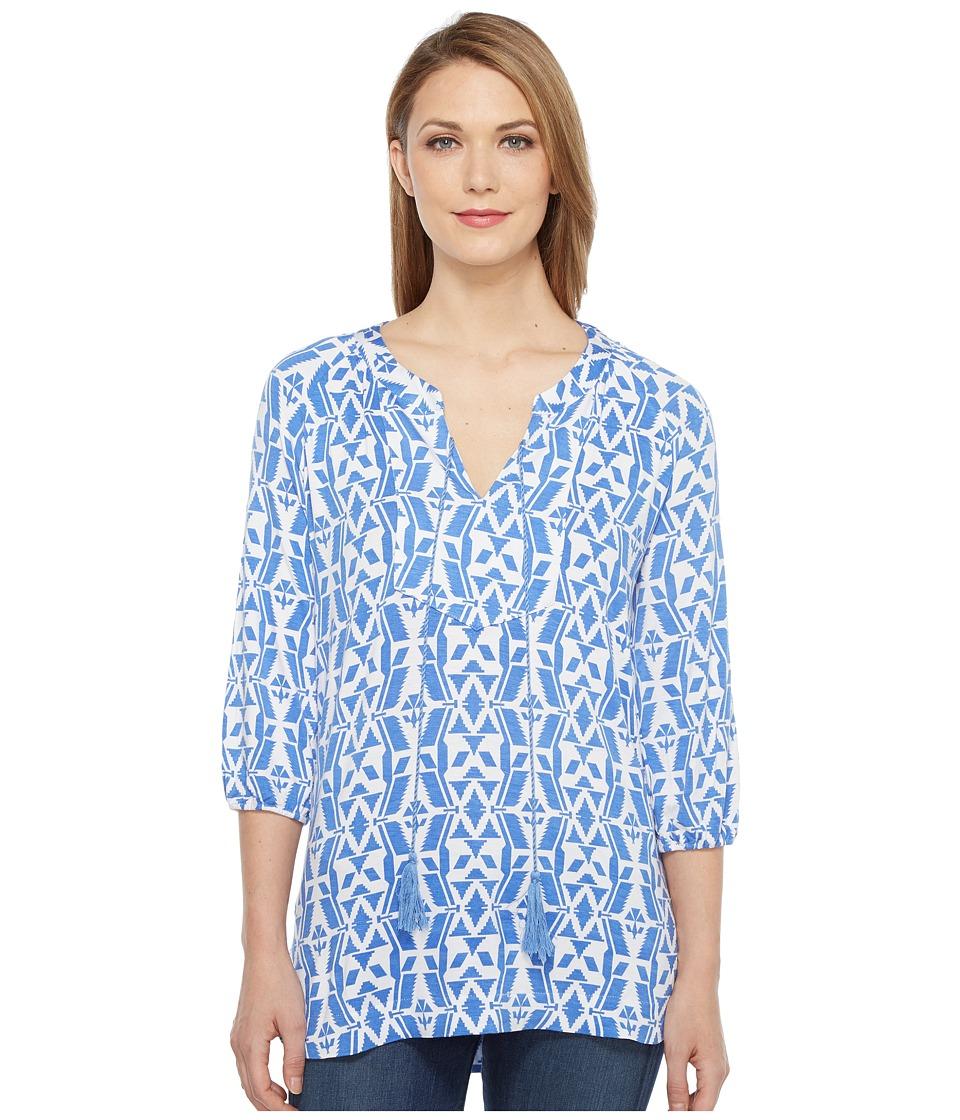 Tribal - Printed Rayon Long Sleeve Tunic Top (Peri Dust) Women's Blouse