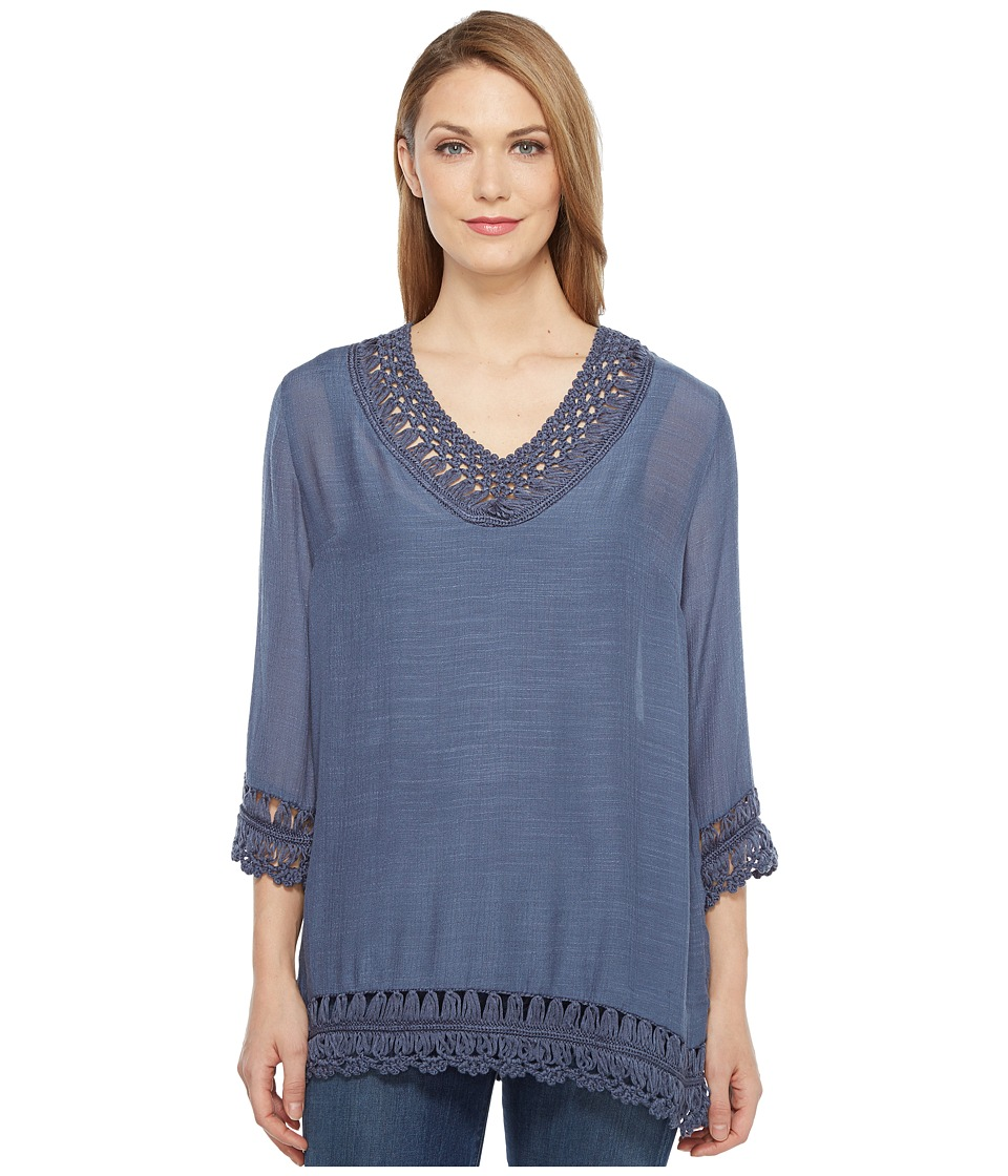 Tribal - Georgette Tunic w/ Crochet Details (Light Seaport) Women's Blouse