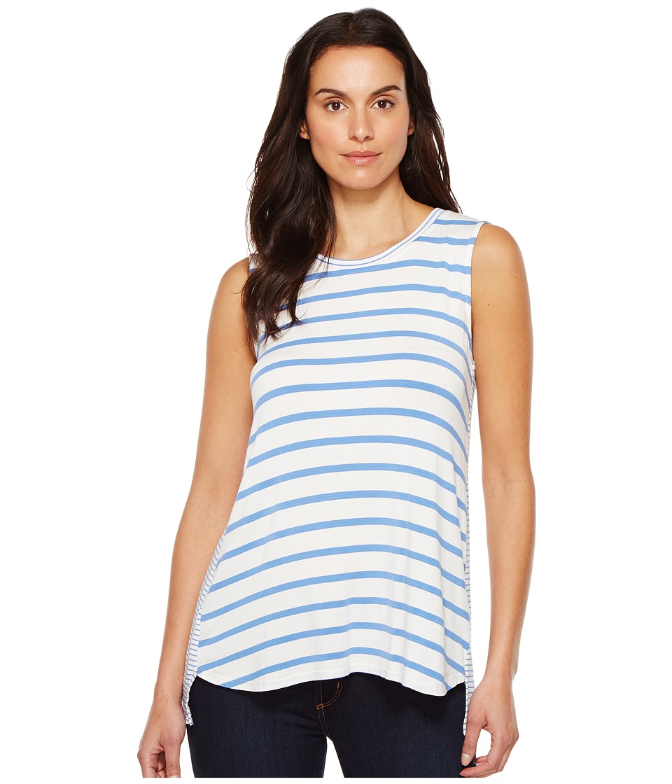 Tribal - Striped Jersey Sleeveless High-Low Coming and Going Top (Peri Dust) Women's Sleeveless