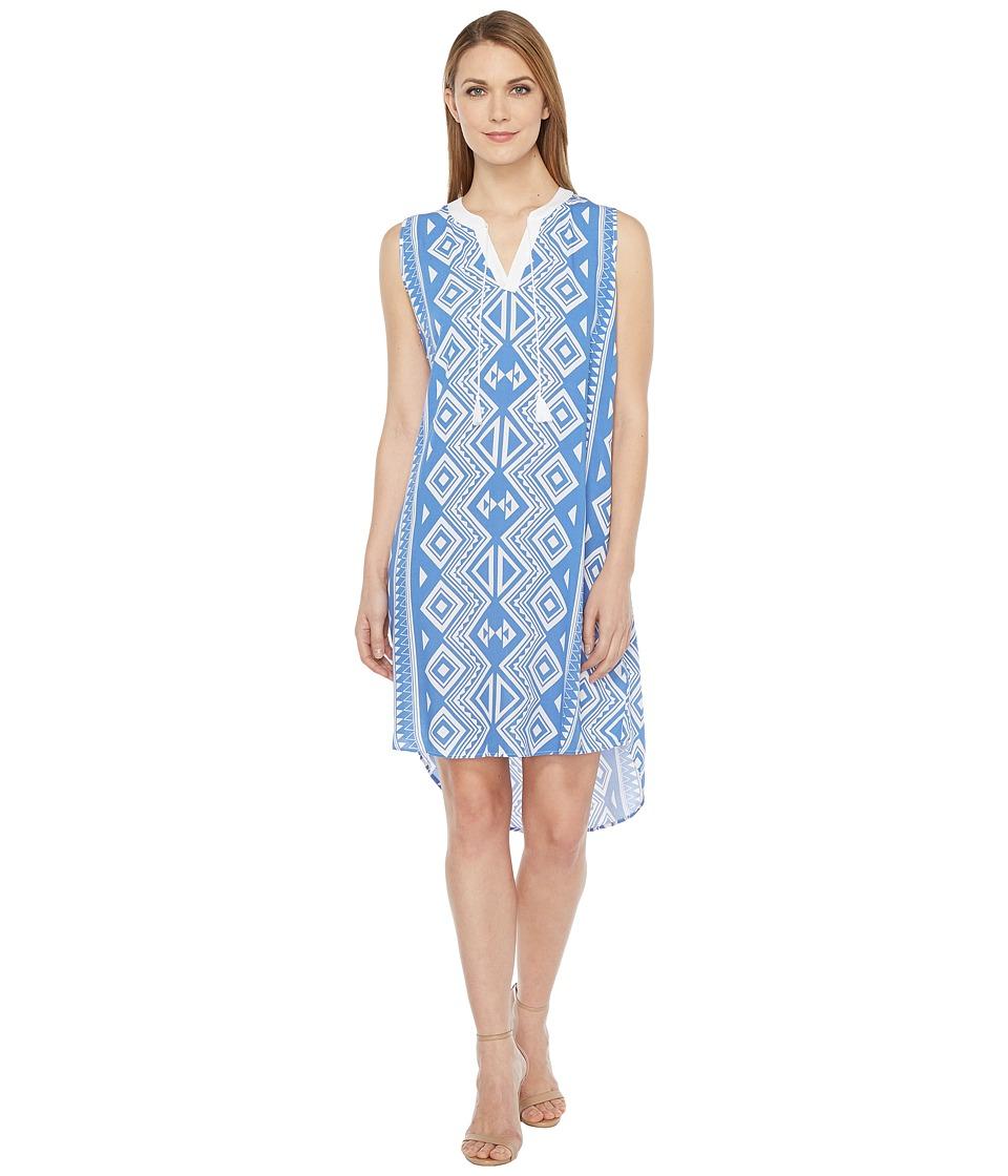 Tribal - Printed Textured Crepe Sleeveless Dress (Peri Dust) Women's Dress