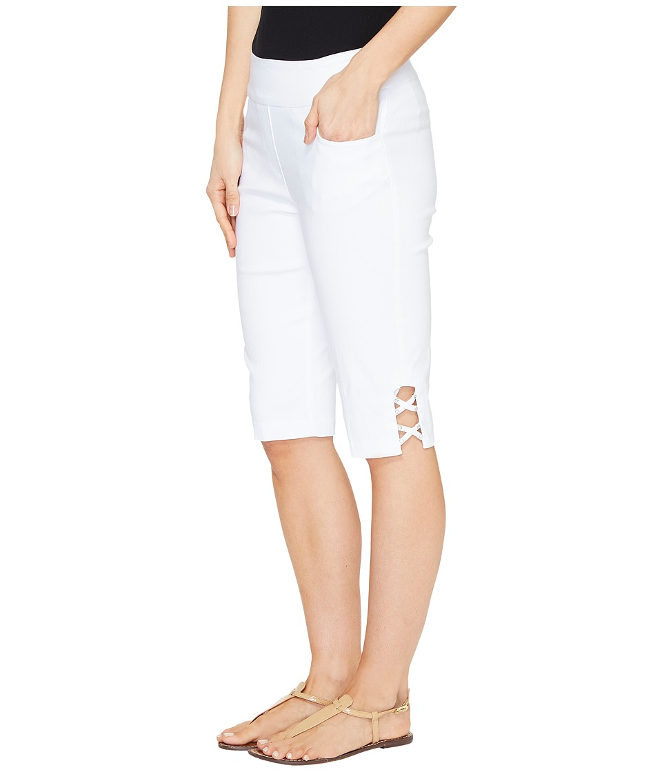 Tribal - Stretch Bengaline 13 Bermuda Shorts with Bling Detail (White) Women's Shorts