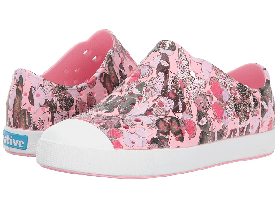 Native Kids Shoes - Jefferson Quartz Print (Little Kid) (Princess Pink/Shell White/Butterflies) Girls Shoes