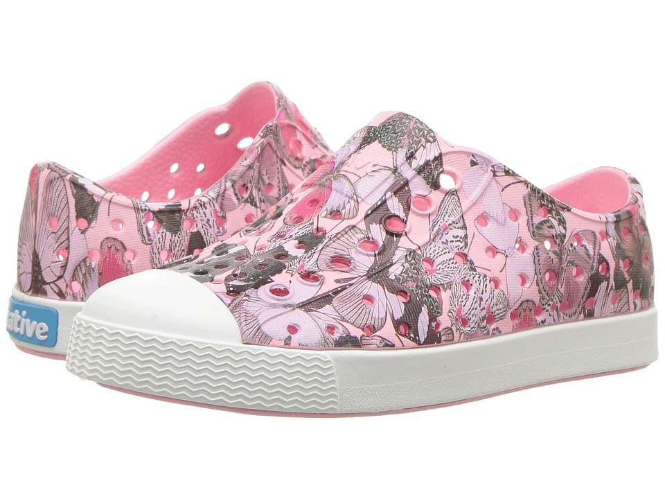 Native Kids Shoes - Jefferson Quartz Print (Toddler/Little Kid) (Princess Pink/Shell White/Butterfly) Girls Shoes