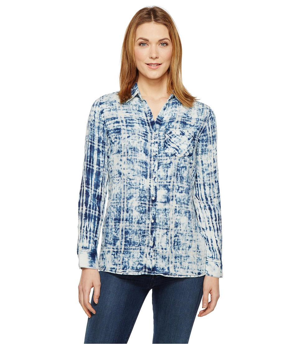 Tribal - Cotton Gauze Shirt with Patch Pocket (Indigo) Women's Long Sleeve Button Up