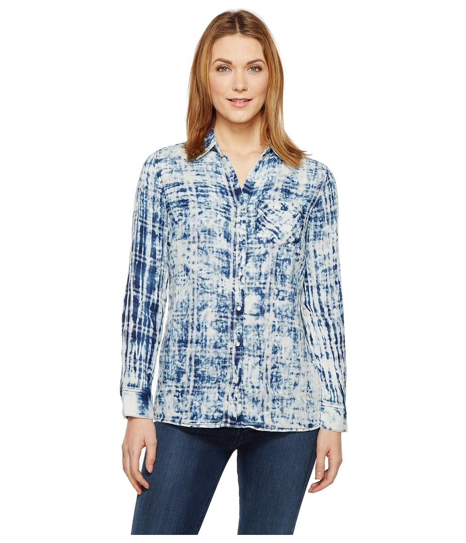 Tribal - Cotton Gauze Shirt with Patch Pocket (Indigo) Women's Long Sleeve Button Up