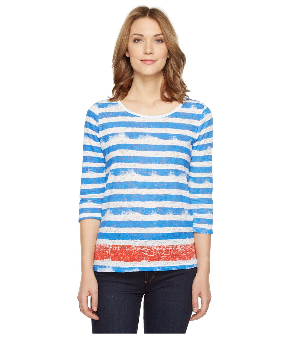 Tribal - Burnout 3/4 Sleeve Combo Stripe Top (Flame) Women's Clothing