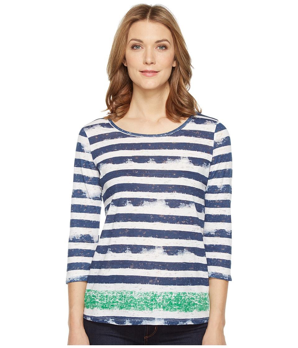 Tribal - Burnout 3/4 Sleeve Combo Stripe Top (Kelly Green) Women's Clothing