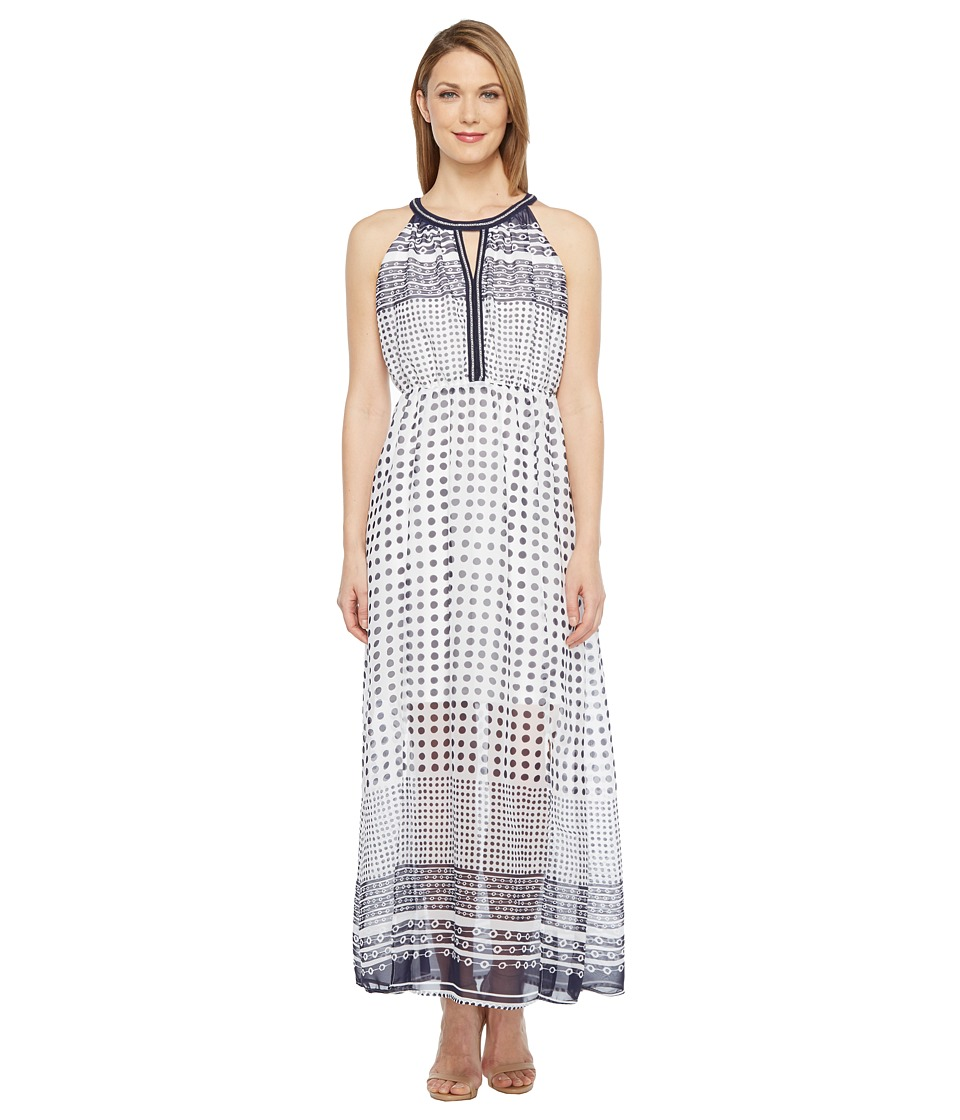 Tribal - Poly Chiffon Keyhole Chain Trim Dress (Ink) Women's Dress