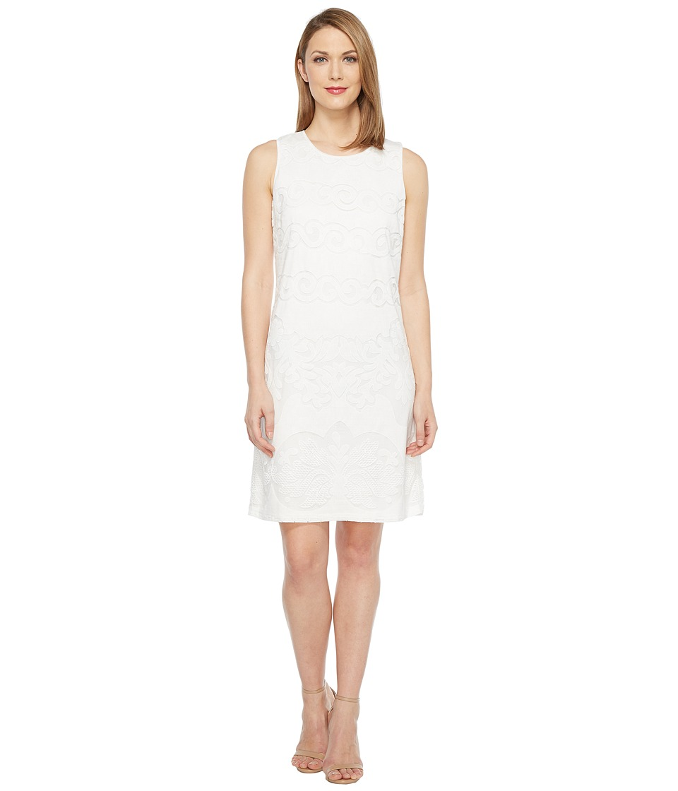 Tribal - Lace Sleeveless A-Line Dress (White) Women's Dress