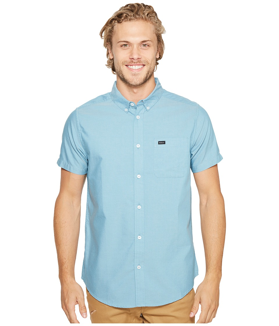 RVCA - That'll Do Oxford Short Sleeve Woven (Blue Jay) Men's Short Sleeve Button Up