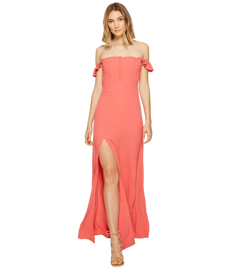 Flynn Skye - Bardot Maxi Dress (Coral) Women's Dress