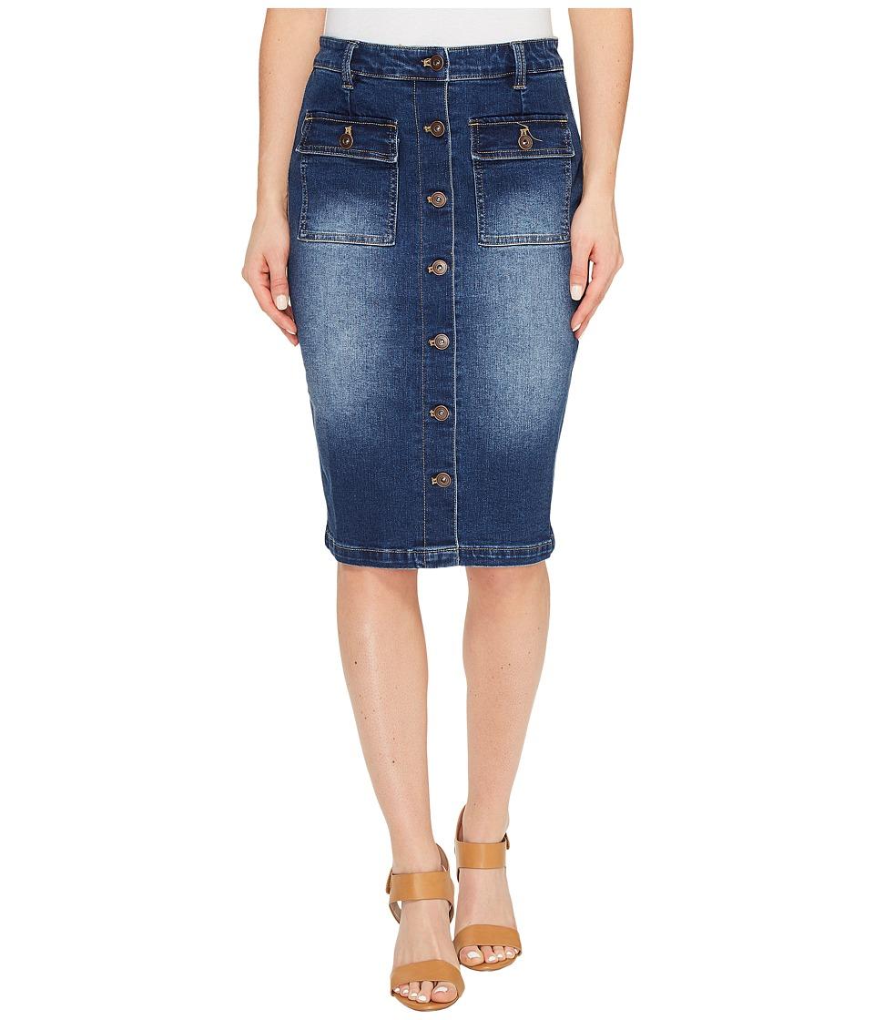 Tribal - Stretch Denim Pencil Skirt w/ Buttons (Dark Indigo) Women's Skirt