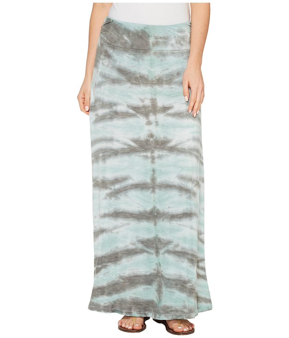 Tribal Slub Knit Jersey Tie-Dye Maxi Skirt (Aqua Haze) Women