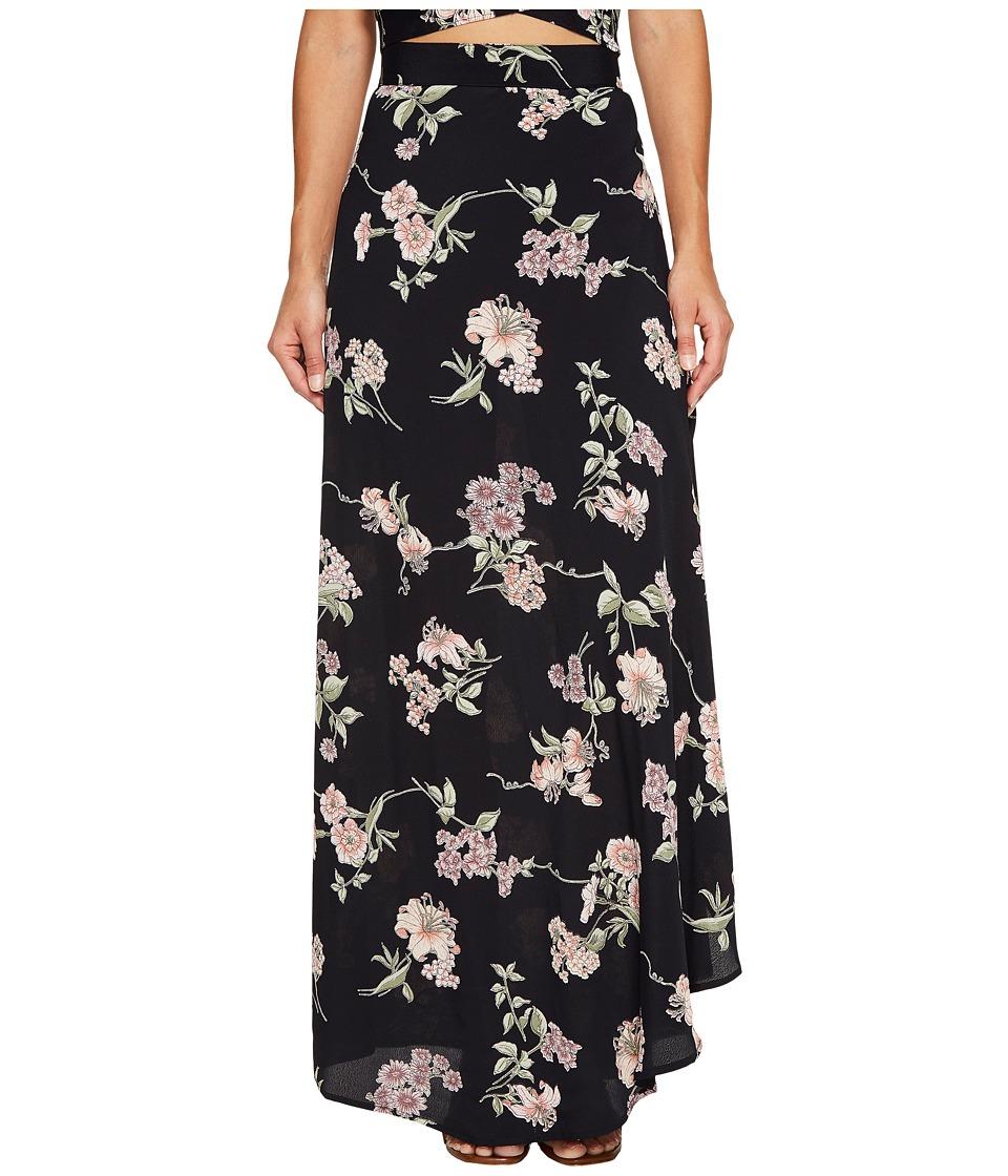 Flynn Skye - Wrap It Up Skirt (Black Botanical) Women's Skirt