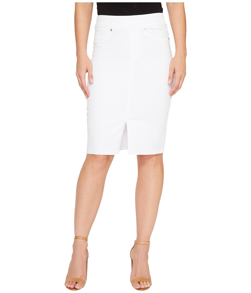 Tribal Pull-On Denim Pencil Skirt (White) Women