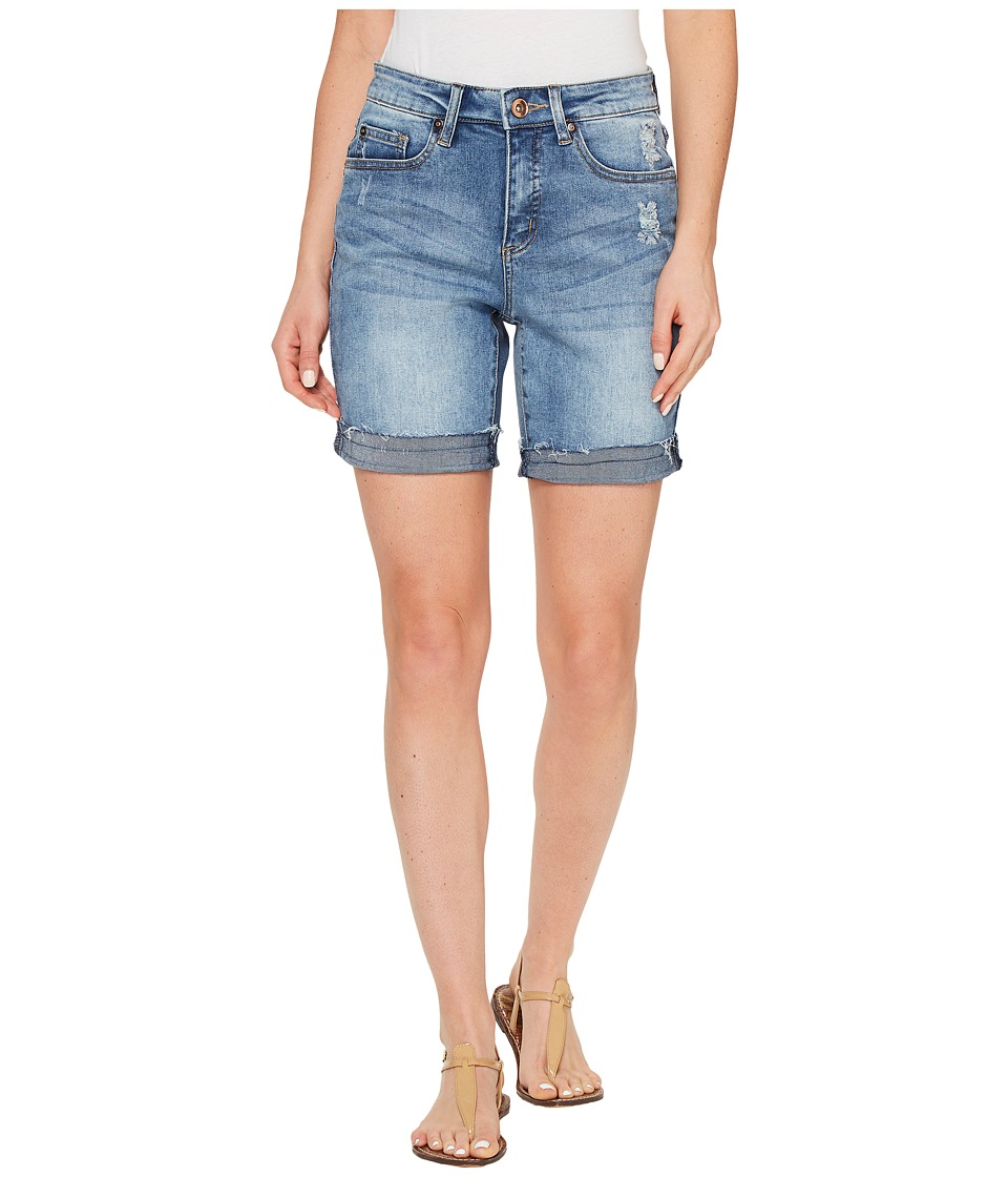 Tribal - Stretch Denim Boyfriend shorts w/ Abrasion in Faded Blue (Faded Blue) Women's Shorts