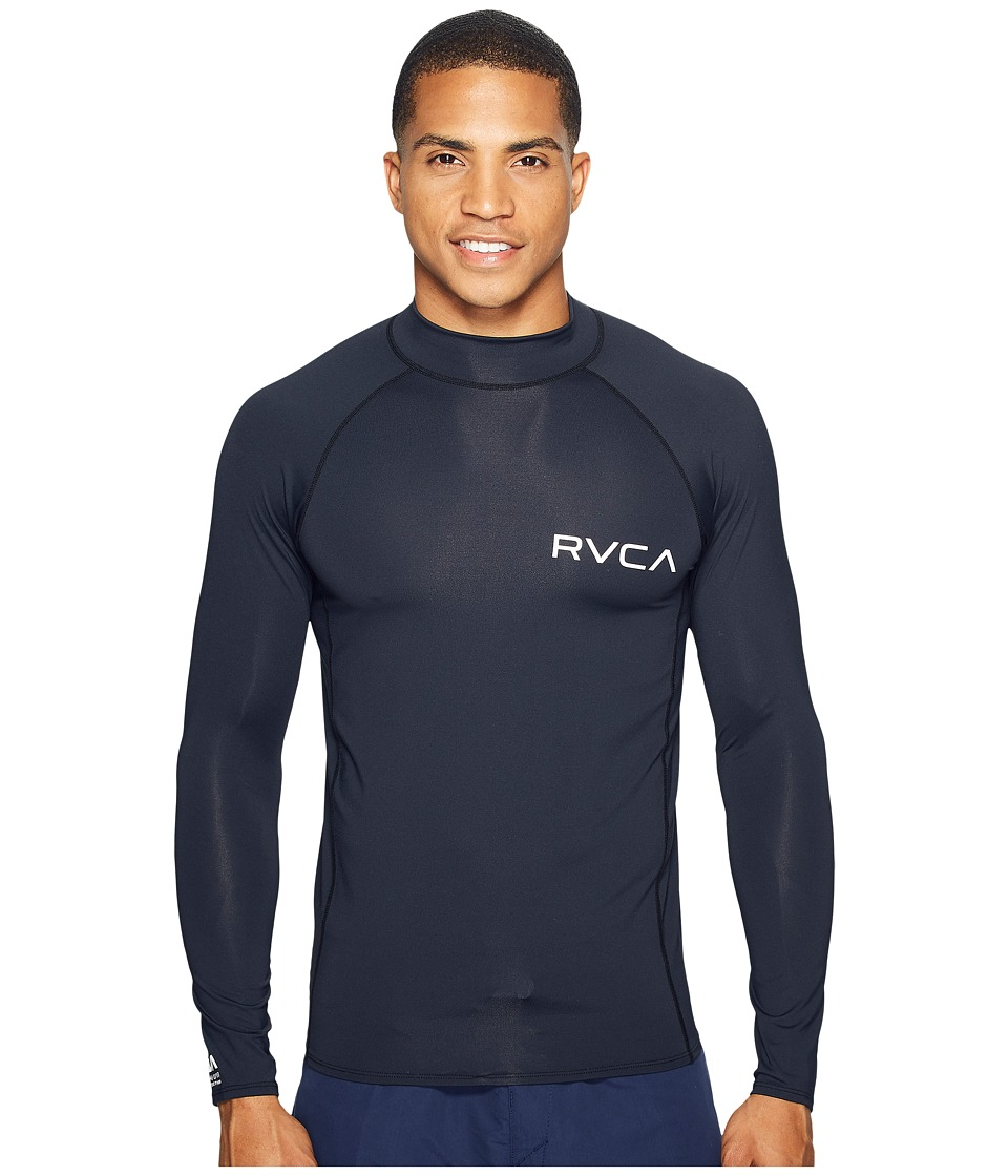 RVCA - Solid Long Sleeve Rashguard (Black) Men's Swimwear