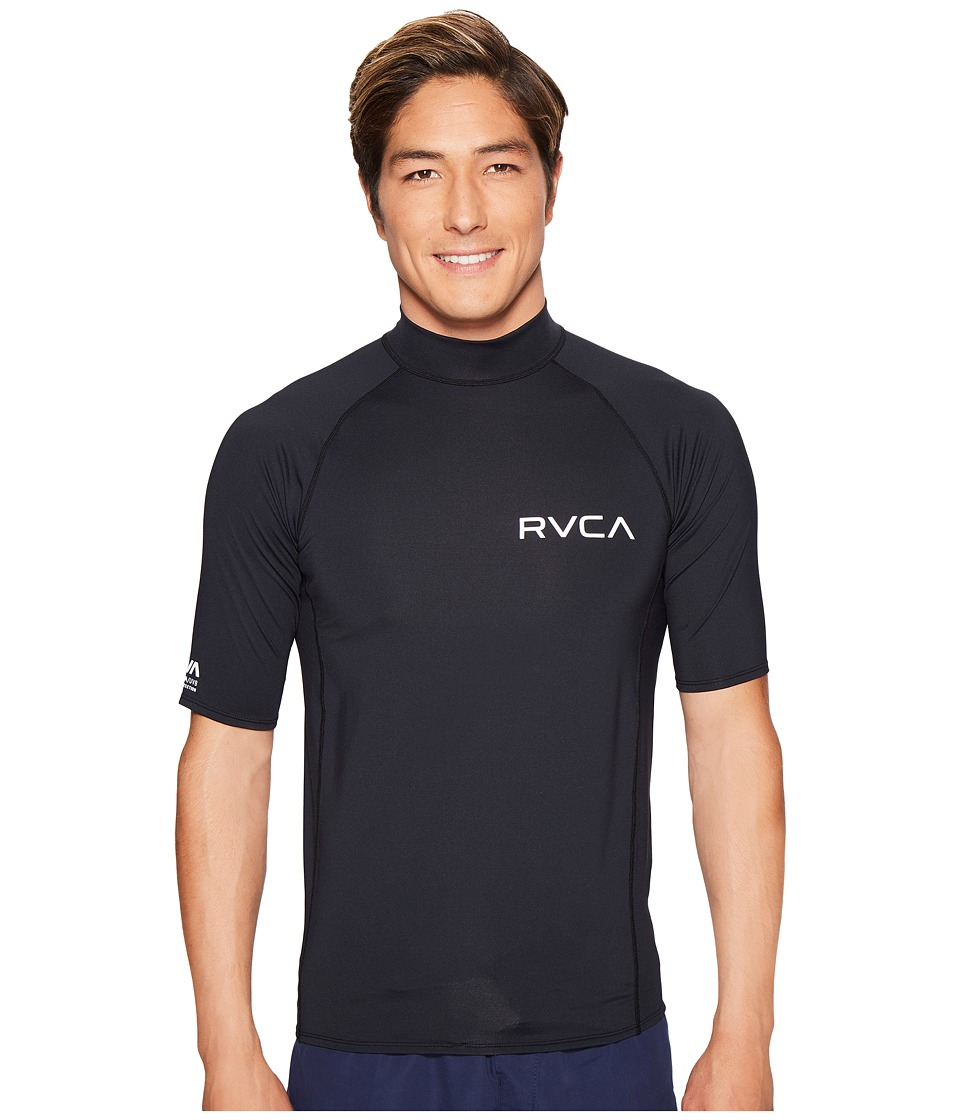 RVCA - Solid Short Sleeve Rashguard (Black) Men's Swimwear