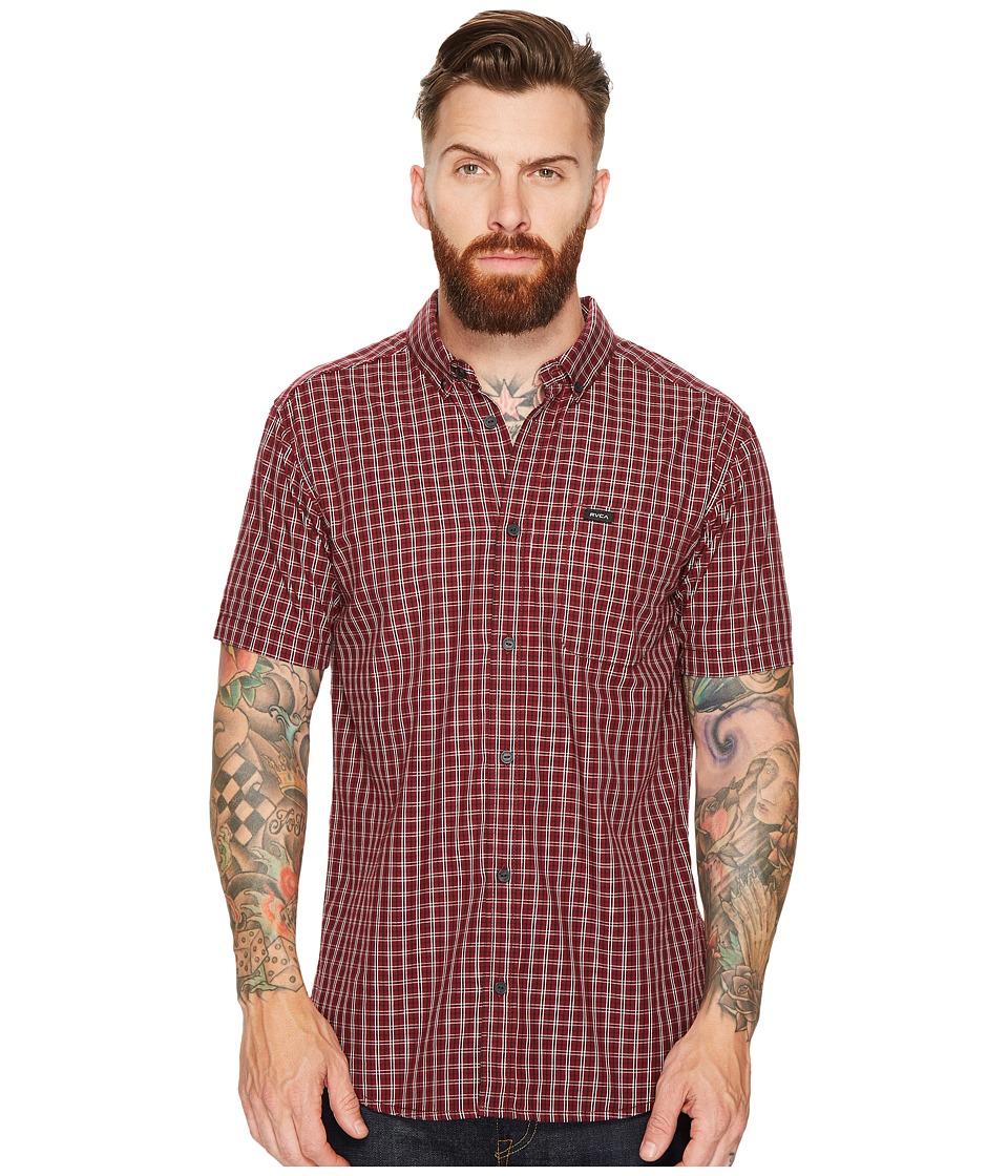 RVCA - That'll Do Plaid 2 Short Sleeve Woven (Tawny Port) Men's Clothing