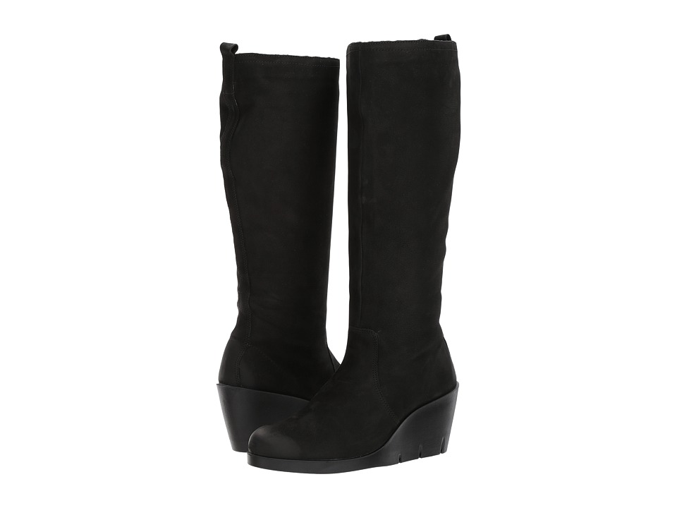 ECCO Bella Wedge Tall Boot Black Cow Nubuck Womens Boots