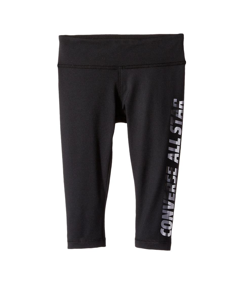 Converse Kids - All Star Capri Leggings (Toddler/Little Kids) (Black) Girl's Casual Pants