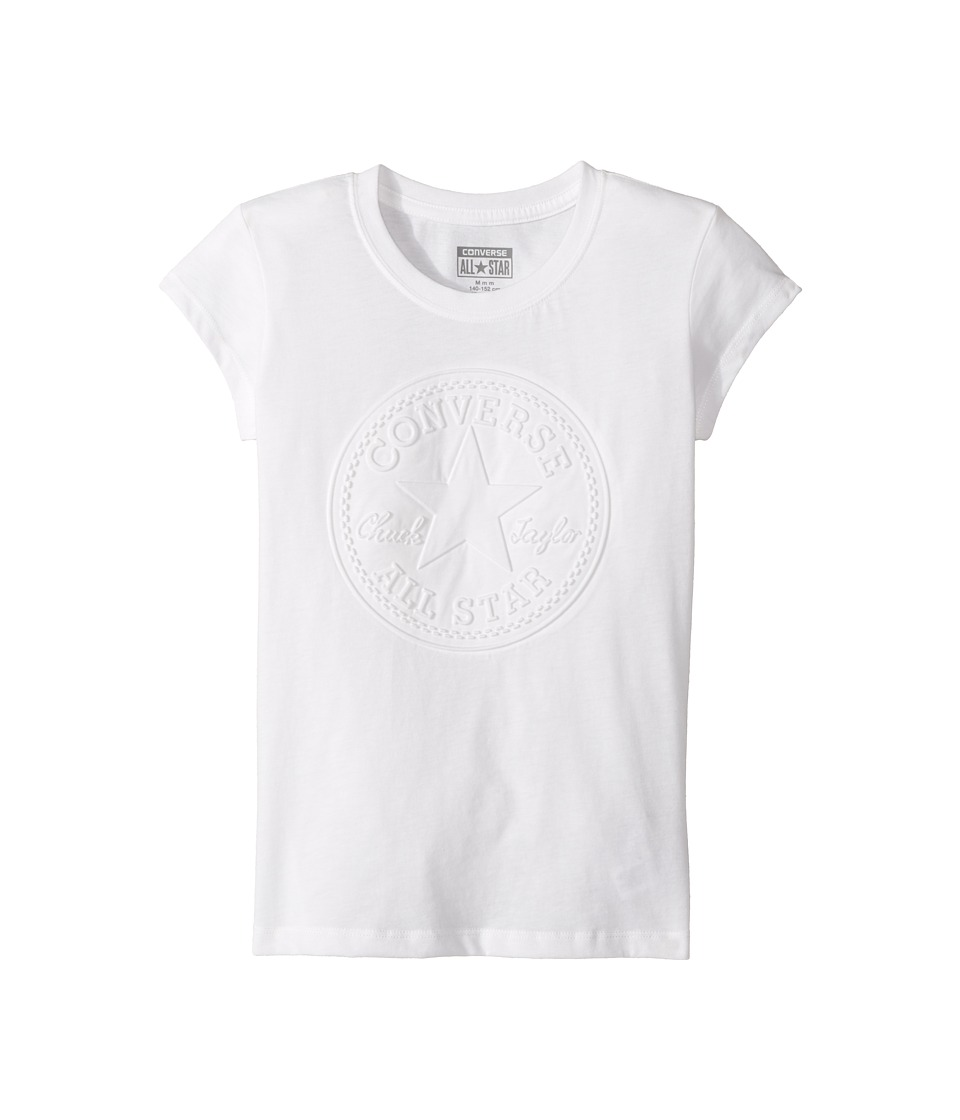 Converse Kids - Chuck Patch Monochrom Tee (Big Kids) (White) Girl's T Shirt