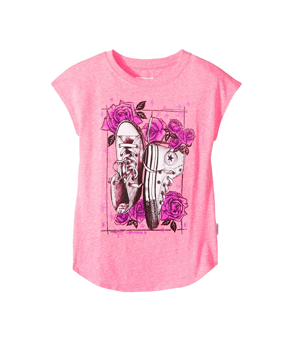 Converse Kids - Chucks N Roses Tee (Big Kids) (Neo Pink Snow Heather) Girl's T Shirt