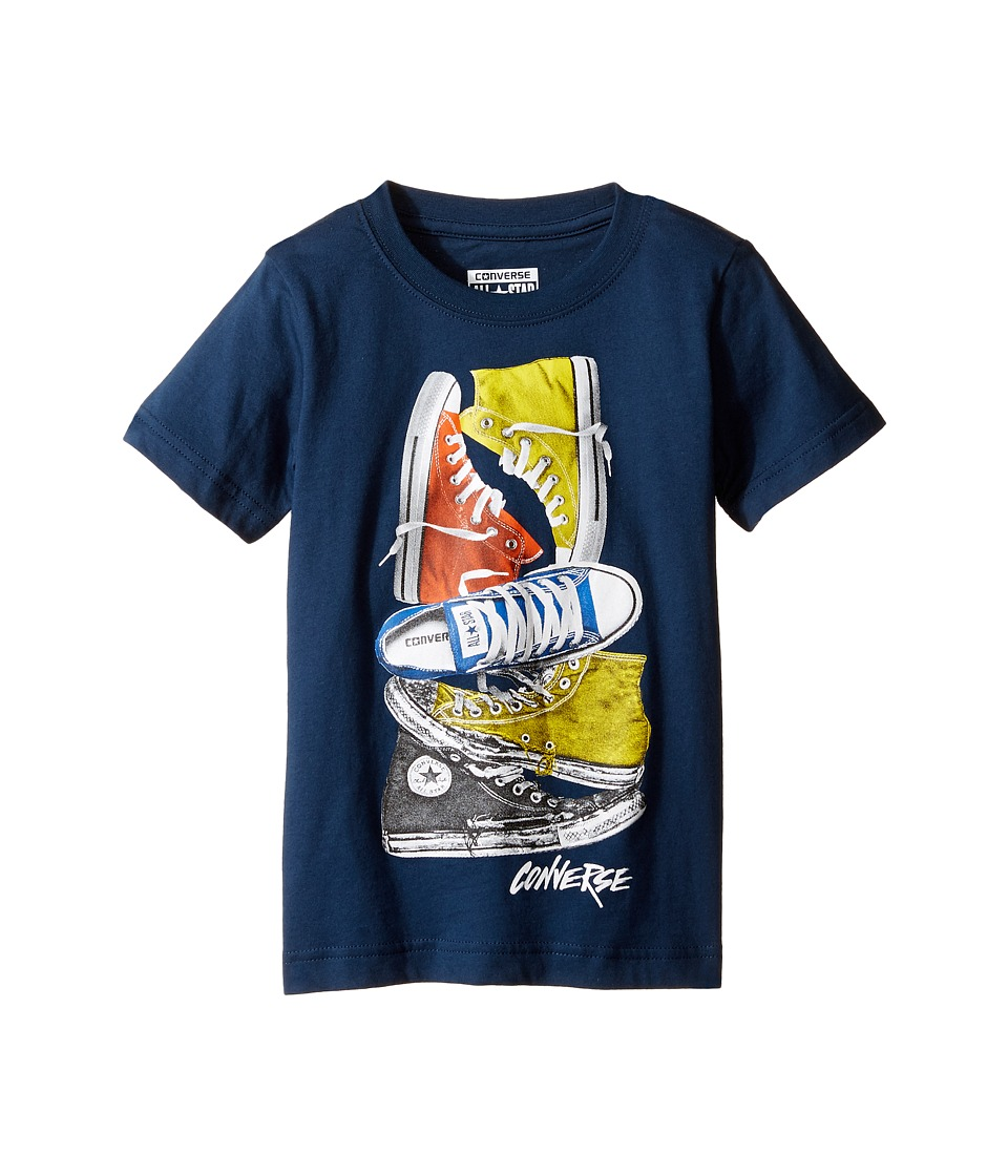 Converse Kids - Stacked Remix Tee (Toddler/Little Kids) (All Star Navy) Boy's T Shirt
