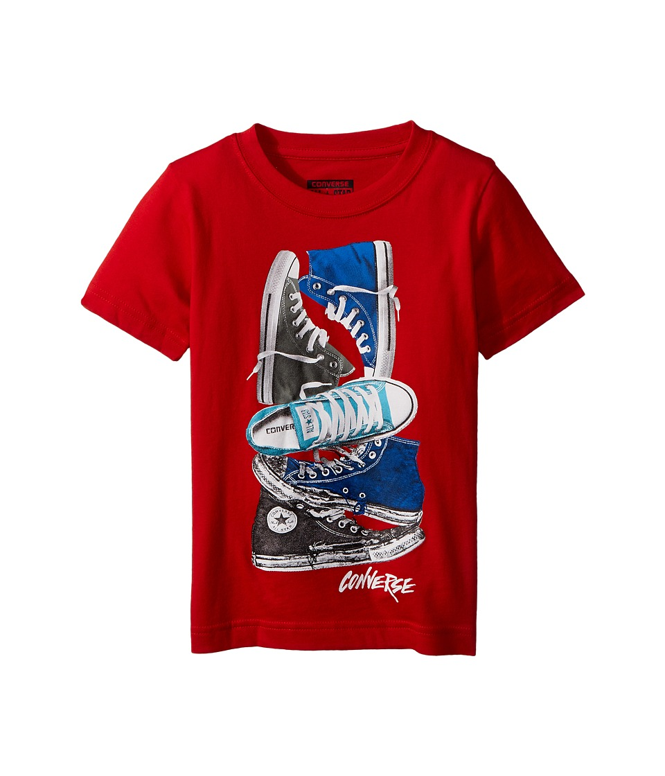 Converse Kids - Stacked Remix Tee (Toddler/Little Kids) (Red) Boy's T Shirt