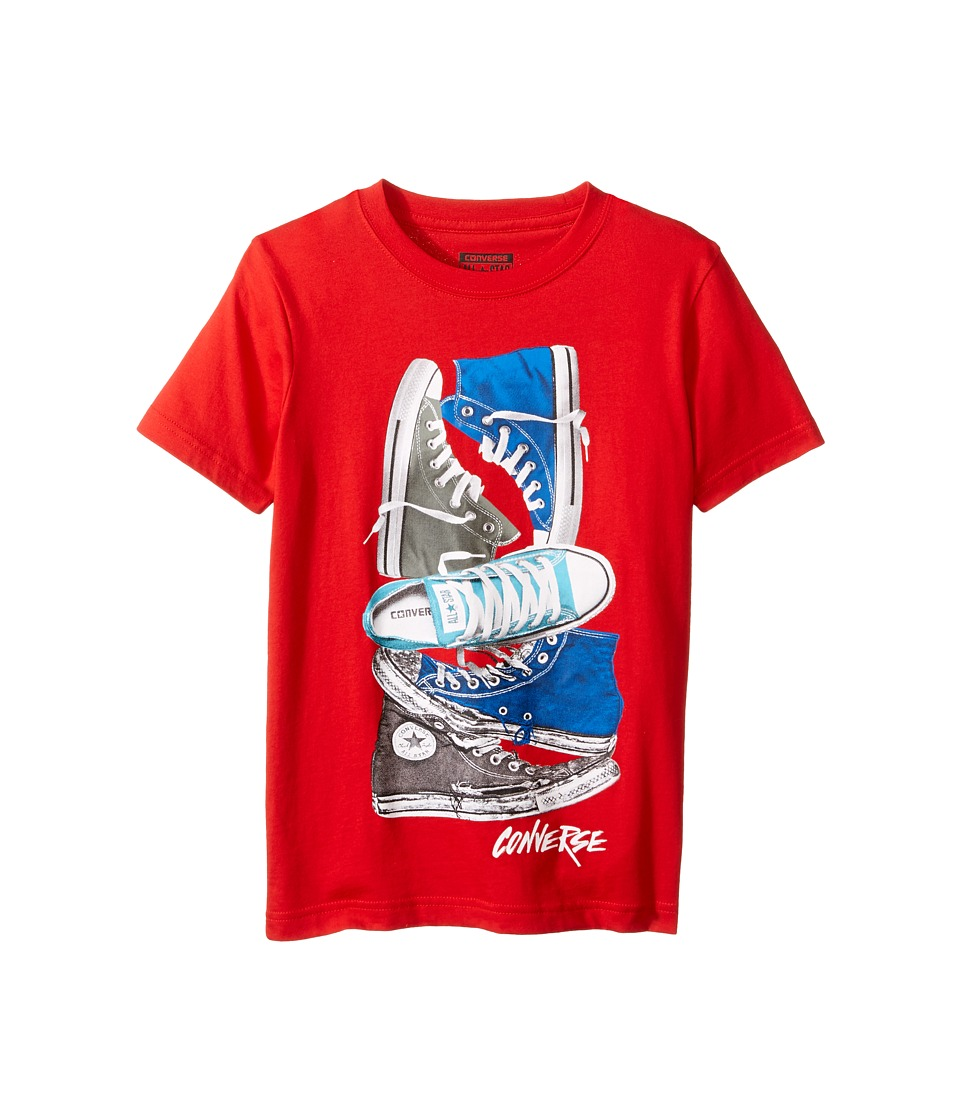 Converse Kids - Stacked Remix Tee (Big Kids) (Red) Boy's T Shirt