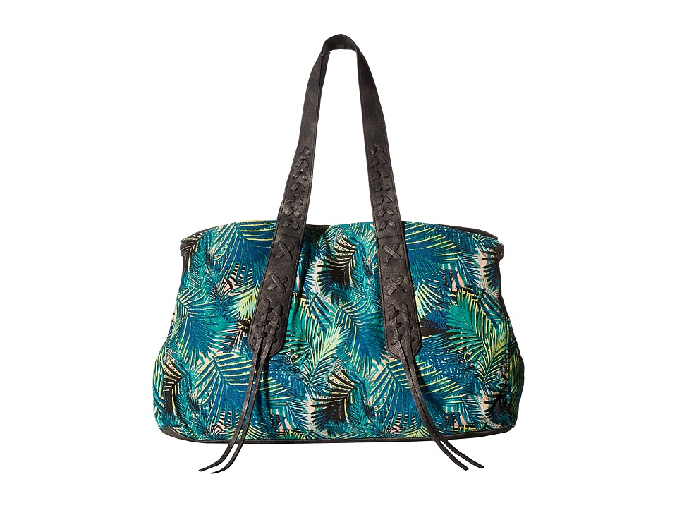 Circus by Sam Edelman - Leo Small Satchel (Turquoise Time Wacky Palm/Black) Satchel Handbags