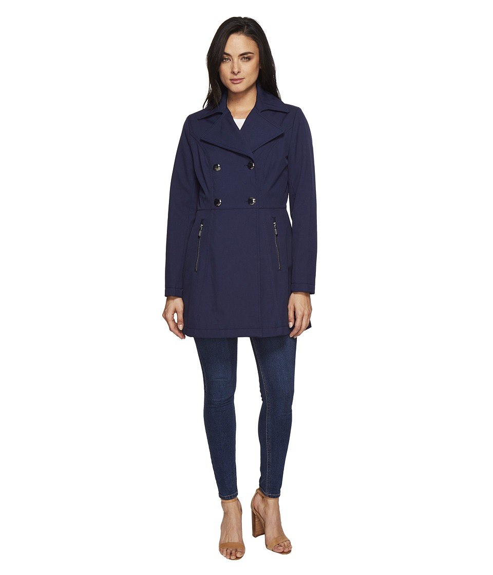 Kenneth Cole New York - Double Breasted Raincoat (Navy) Women's Coat