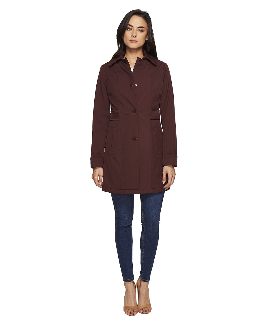 Kenneth Cole New York - Single Breasted Raincoat (Burgundy) Women's Coat