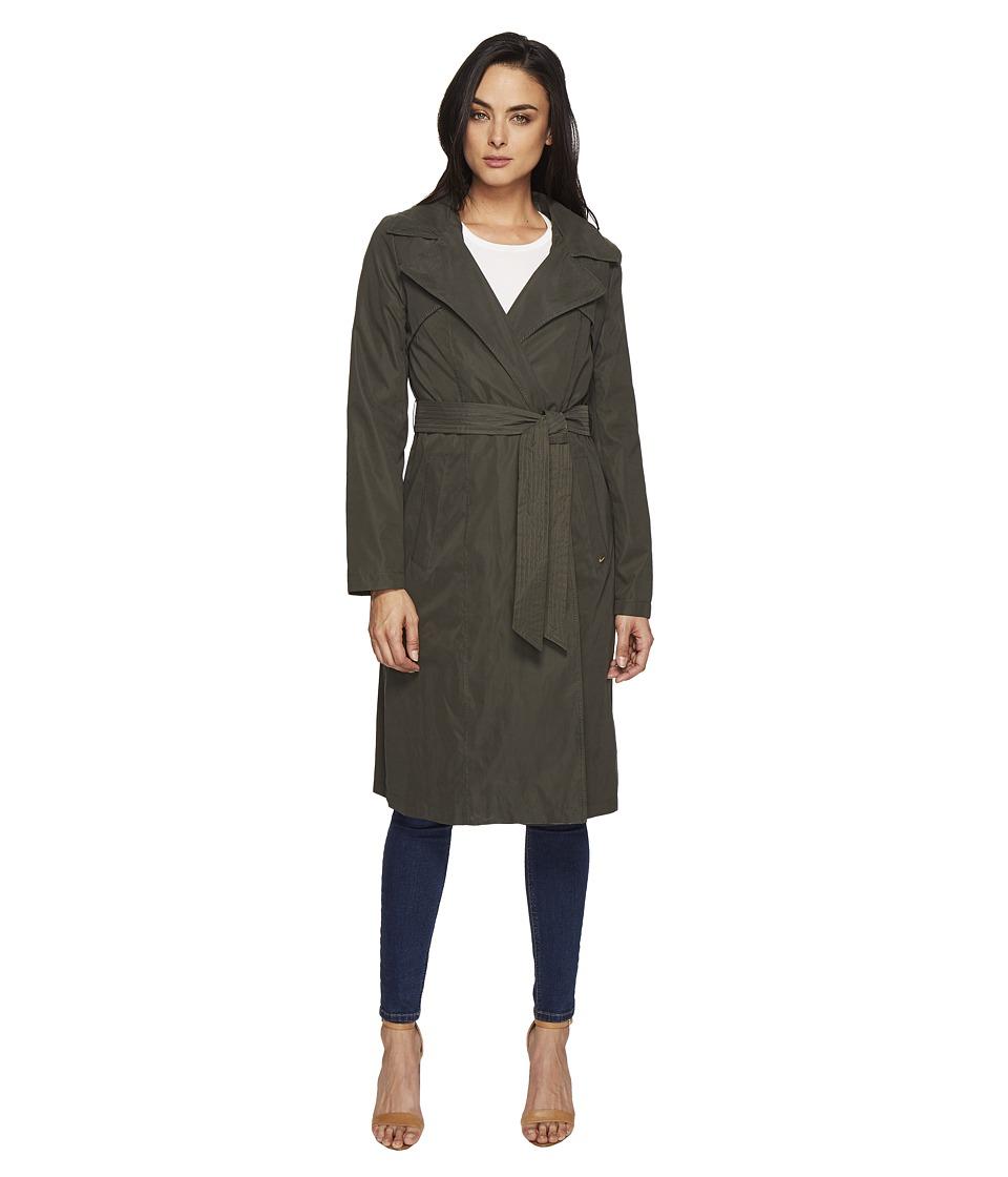 Ellen Tracy - Microfiber Hooded Wrap Trench (Pine) Women's Coat