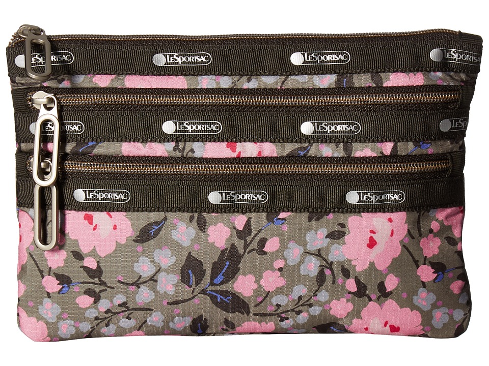 LeSportsac - Classic 3 Zip Pouch (Pink Rosette) Bags
