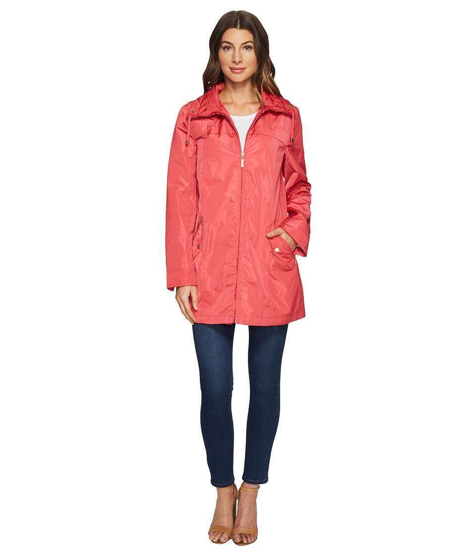 Ellen Tracy - Packable Rain Topper (Rose) Women's Coat