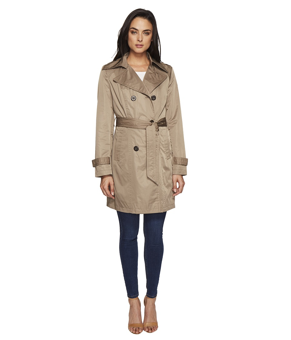 Ellen Tracy - Techno Double Breasted Trench (Basil) Women's Coat
