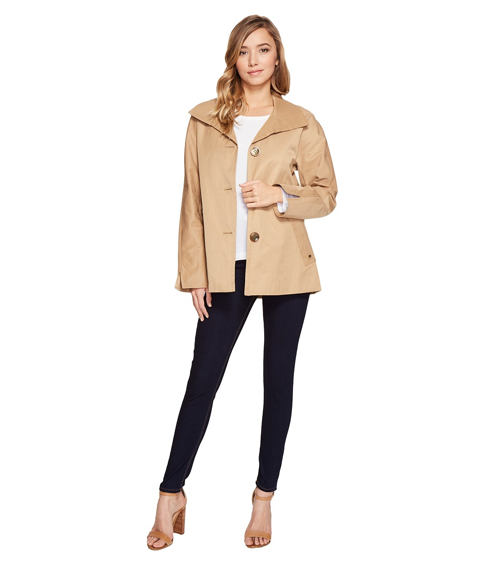 Ellen Tracy - Cotton/Poly A-Line Anorak (Wheat) Women's Coat