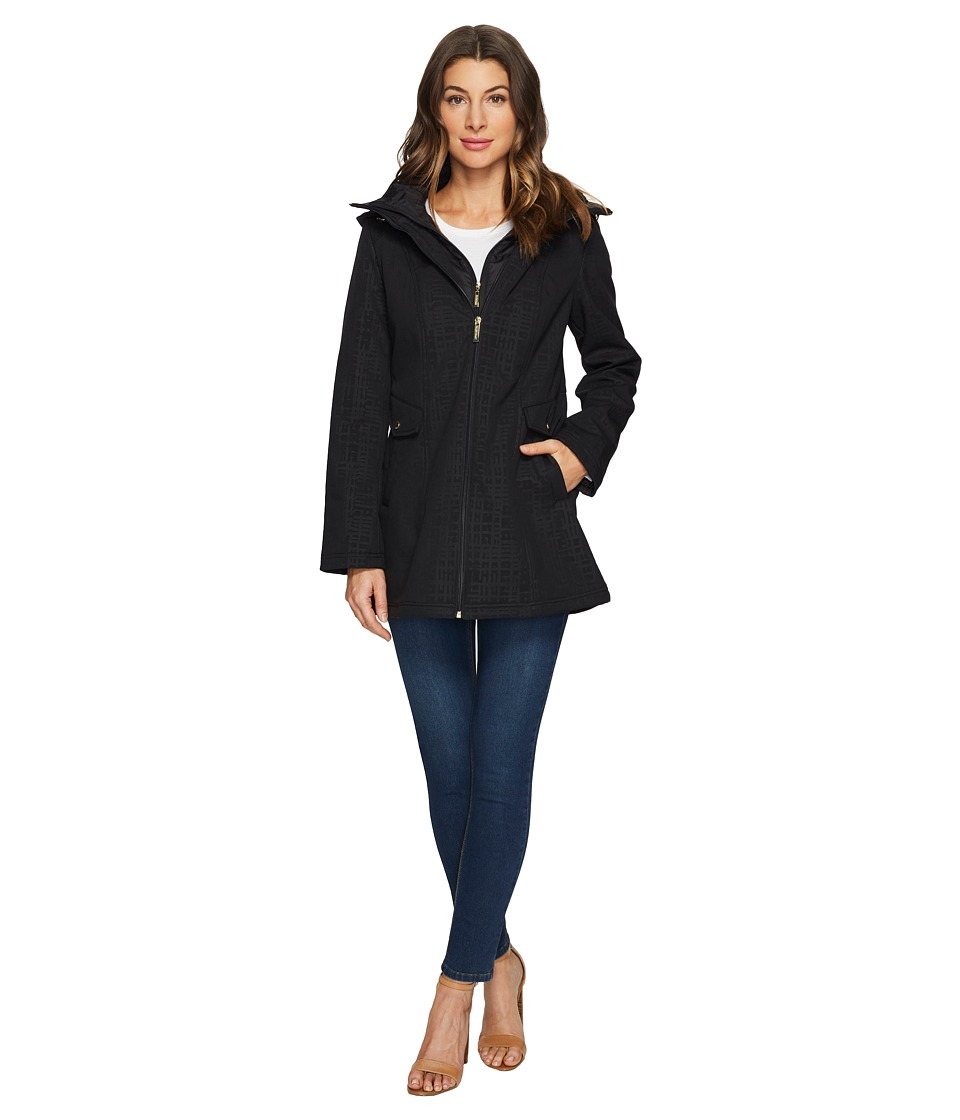 Ellen Tracy - Soft Shell Topper (Grid Print) Women's Coat