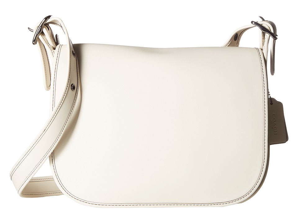 COACH - Glovetanned Leather Saddle Bag (DK/Chalk) Bags