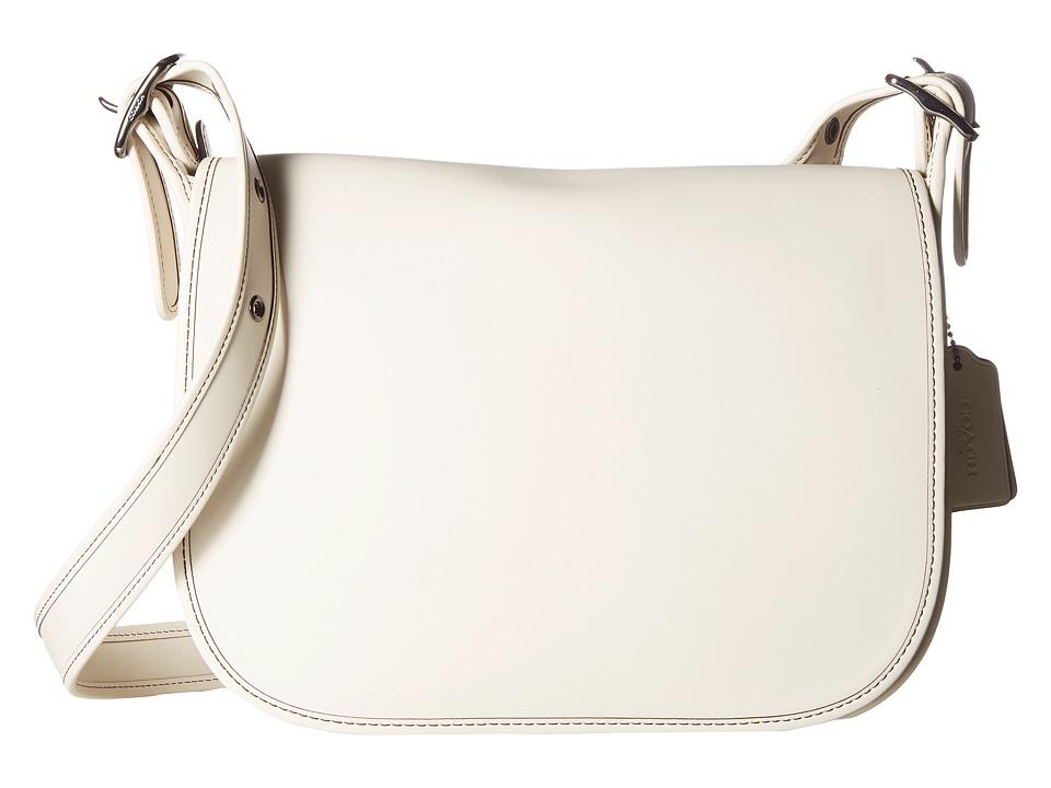COACH - Glovetanned Leather Saddle Bag (DK/Chalk) Bags