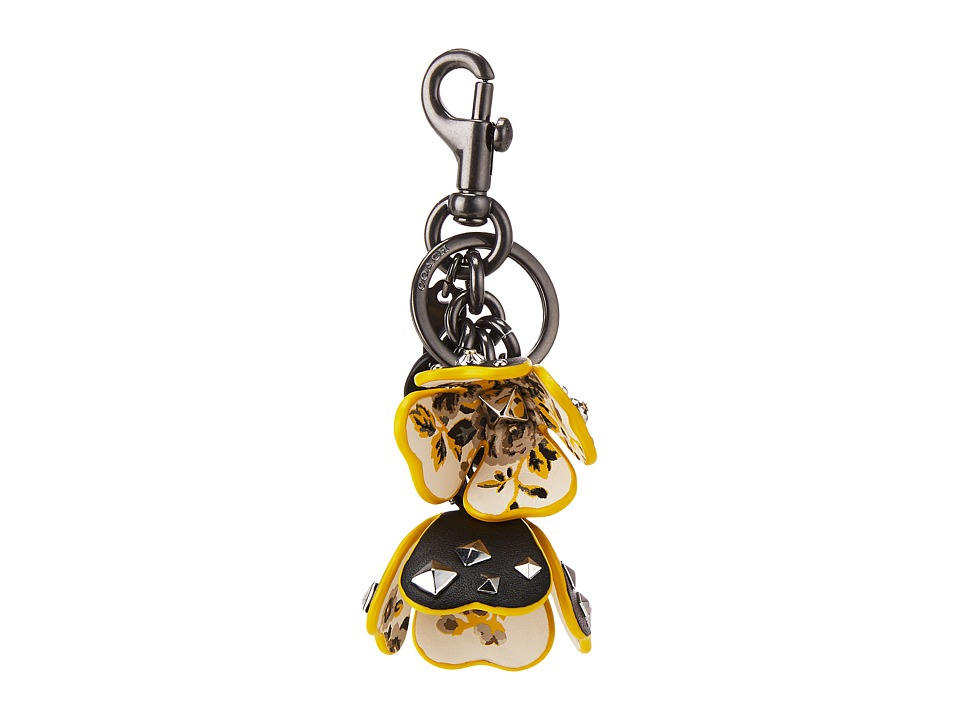 COACH - Floral Printed Leather Tea Rose Bag Charm (BK/Black) Wallet