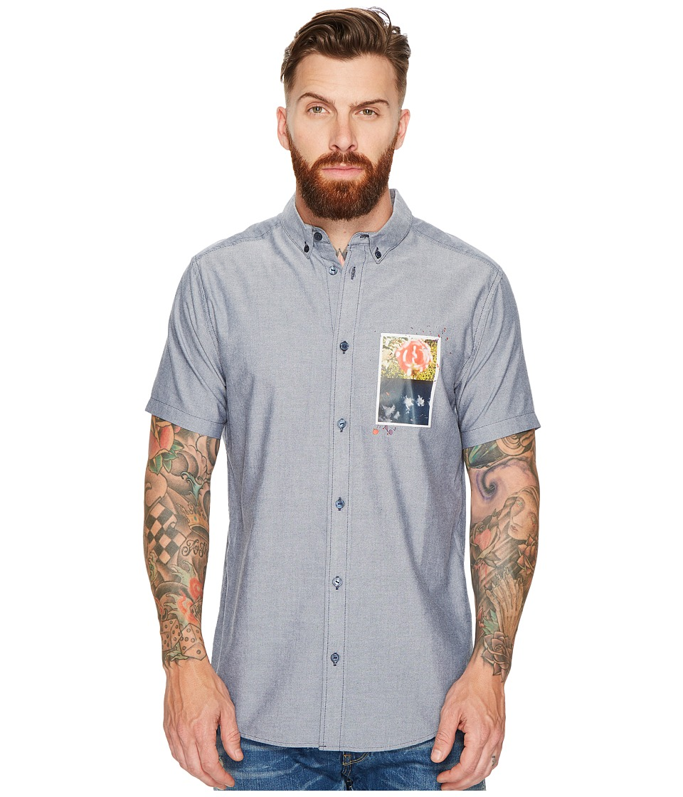 RVCA - That'll Do Fill Short Sleeve (Distant Blue) Men's Clothing